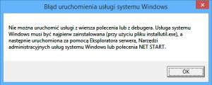 --------------------------- Błąd uruchomienia usługi systemu Windows --------------------------- Nie można uruchomić usługi z wiersza polecenia lub z debugera. Usługa systemu Windows musi być najpierw zainstalowana (przy użyciu pliku installutil.exe), a następnie uruchomiona za pomocą Eksploratora serwera, Narzędzi administracyjnych usług systemu Windows lub polecenia NET START. --------------------------- OK    ---------------------------